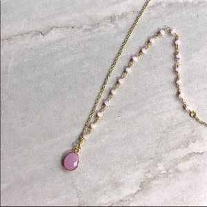 Jewelry - ✨Rose Chalcedony 14K Gold Plated Crystal Necklace✨